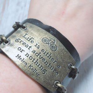 """Helen Keller Leather Quote Cuff Bracelet 8"""""""